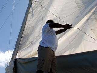 repairing a sail