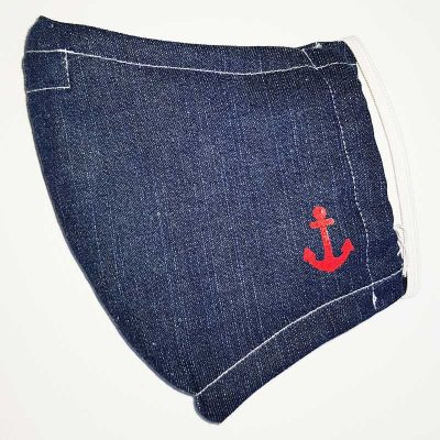 denim mask with anchor print emblem